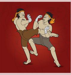 Thai boxing sport muay thai fighting vector