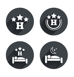 Three stars hotel icons Travel rest place vector image