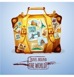Touristic Suitcase With Stamps vector