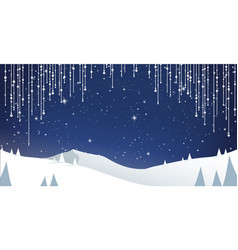 Winter mountain landscape scenery with pine trees vector