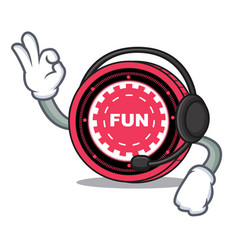 With headphone funfair coin mascot cartoon vector