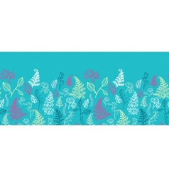 Blue Leaves Horizontal Seamless Pattern Background vector image
