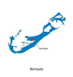 Detailed map of Bermuda and capital city Hamilton vector image vector image