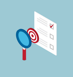 magnifying glass finding target and check list vector image