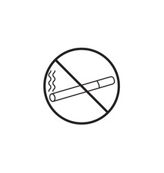 no smoking line icon prohibited sign vector image vector image