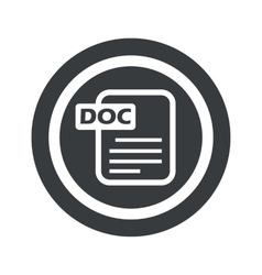 Round black DOC file sign vector image vector image