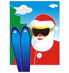 Santa Claus skiing vector image vector image