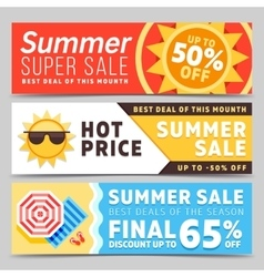 Super sale summer banners vector image vector image
