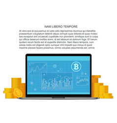 bitcoin flat concept with laptop and golden vector image