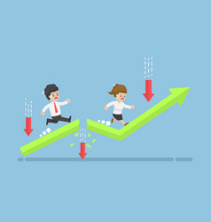 business people run to top of the graph through vector image vector image