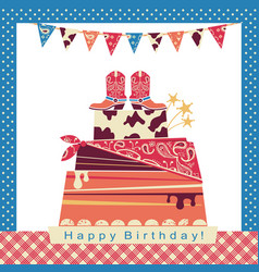 Cowboy party with big cake and cowboy shoes on vector
