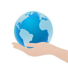 Hand Holding Blue Globe Icon Save Earth Concept vector image vector image