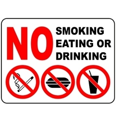 Prohibition Signs for Smoking Eating and Drinking vector image vector image