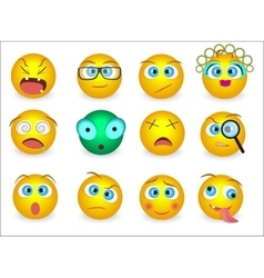 Set of Emoji emoticons face icons isolated vector image