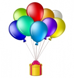balloons with a gift box vector image vector image
