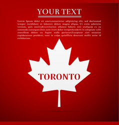 canadian maple leaf with city name toronto vector image vector image