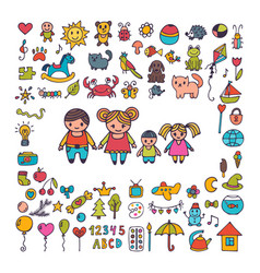 family collection of hand drawn cute doodles vector image