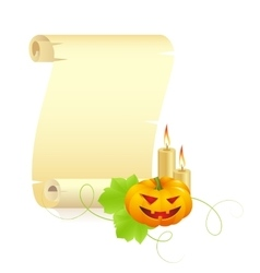 pumpkin and manuscript on a white background vector image vector image