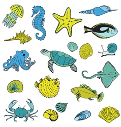 Sea life Animals - Hand drawn vector image