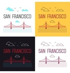 set of San Francisco Golden Gate vector image