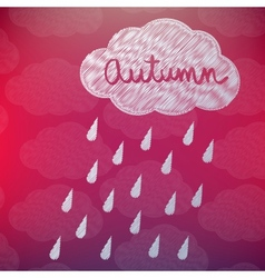 Autumn Background with a Cloud and Rain vector image