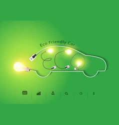 Eco friendly car with creative light bulb ideas vector image