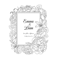 Floral frame design wedding invitation card vector image vector image