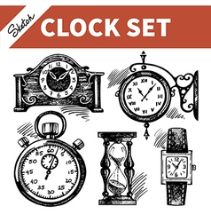 Hand drawn sketch set of clocks and watches vector image