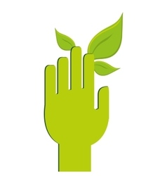 human hand leaf leaves icon vector image