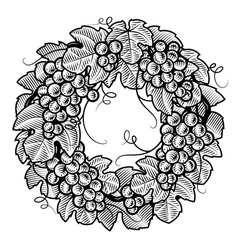 Retro grapes wreath black and white vector image vector image