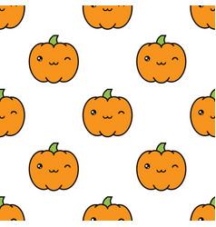 seamless halloween pattern with winking kawaii vector image vector image