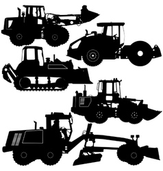 Set silhouettes road construction equipment vector image vector image
