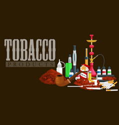 smoking tobacco products icons set with cigarettes vector image vector image