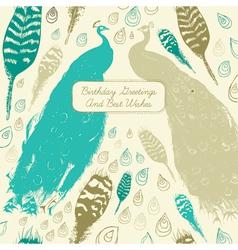 Vintage Peacock Birthday Card vector image vector image