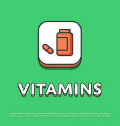 vitamins colour icon in line design vector image vector image