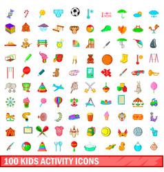 100 kids activity icons set cartoon style vector image
