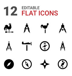 12 compass icons vector