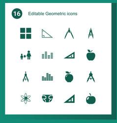 16 geometric icons vector