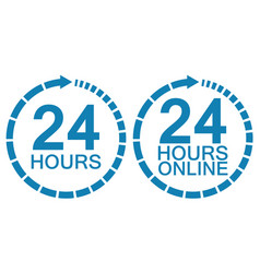 24 twenty four hour clock online service logo vector