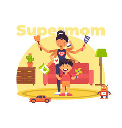 A colourful of a supermom who has vector
