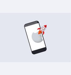 Acceleration mobile application rocket vector