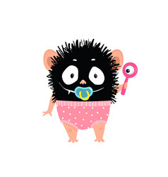 adorable cute bagirl monster with diaper vector image