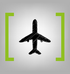 airplane sign black scribble vector image