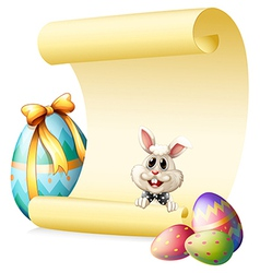 An empty paper template with a bunny and Easter vector image