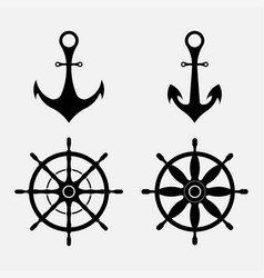 anchor and steering wheel nautical symbols vector image vector image