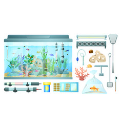 aquarium and its elements isolated on white banner vector image