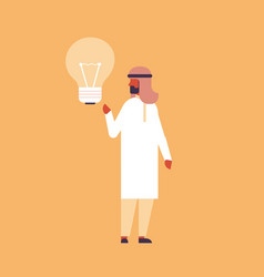 arabic businessman holding light lamp new idea vector image