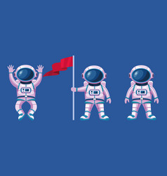 Astronauts with suits and flag characters vector