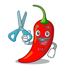 Barber cartoon red hot natural chili pepper vector