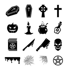 Black icons elements for halloween vector